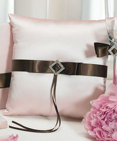 Chocolate & Strawberry Cream Square Ring Pillow.   With the use of color and a touch of whimsy, a brilliant collection is made even more delectable. Pink duchess satin is splashed with chocolate for a fashionable take on a simple yet elegant design.