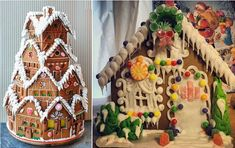 christmas gingerbread house by Pretty Sweet Treats by Nancy right, tiered gingerbread cake left by House of Kuchen