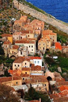 """Living in the castle of Monemvasia"", Laconia, Peloponnese, Greece (Malvasia byzantine castle) Mykonos, Santorini, Beautiful Islands, Beautiful Places, Monemvasia Greece, The Places Youll Go, Places To Visit, Corinth Canal, Places In Greece"