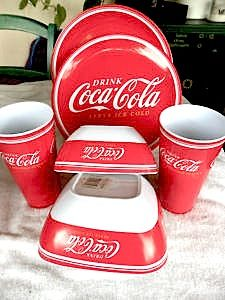 Coca-Cola Melamine Dishes & 6 pack of Coca-Cola Classic Scented Candles | Wax Cola and Coca Cola