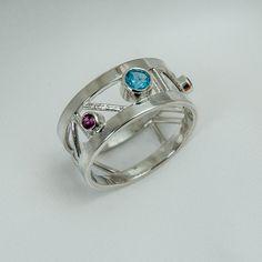 Topaz and garnet sterling silver ring