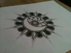 sun_and_moon_flower mandala tatoo Tattoo Dotwork, Et Tattoo, Mandala Tattoo, Piercing Tattoo, Tattoo Moon, Mandalas Painting, Mandalas Drawing, Zentangles, Trendy Tattoos