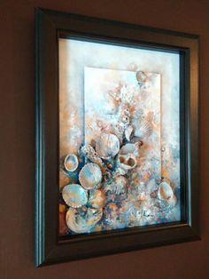 Abstracto arte oro mar  firmado enmarcado listo para colgar