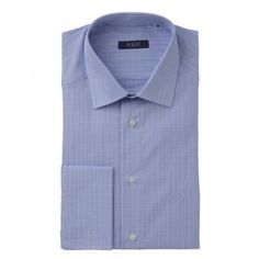 A smart tailored fitting, cotton shirt, with a subtle blue and white check. Features include, double-cuffs, removable collar-bones, a cut-away collar and wolfhound logo. Wolfhound, Blue Check, Tweed, Bones, Knitwear, Cuffs, Menswear, Blue And White, Shirt Dress