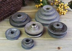 Salvaged Step Pulleys Two Sizes, Metal Pulleys, Metal Art, Steampunk, Assemblage, Lighting Supplies, Art Supplies #7-17 by DogFaceMetal on Etsy