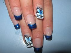 Beautiful Blue Butterfly Nails
