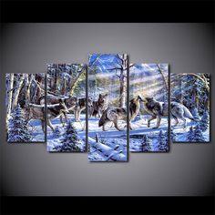 Snow Wolves 5 Piece Canvas Print