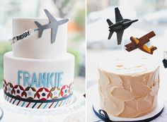 With smooth lines and some vintage plane accents, these retro cakes are the perfect centerpiece for an airline-inspired soiree.  Source: Posh Paperie