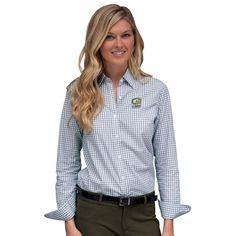 #Fanatics.com - #Vantage Apparel UC Davis Aggies Women's Easy Care Gingham Button-Up Long Sleeve Shirt - White/Gray - AdoreWe.com