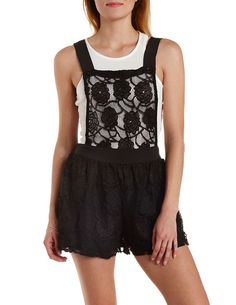 Floral Lace Shortalls by Charlotte Russe - Black