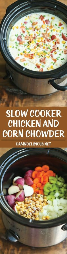 Cooker Chicken and Corn Chowder Slow Cooker Chicken and Corn Chowder - Such a hearty, comforting and CREAMY soup, made right in the crock pot. Let it do all the work for you!Slow Cooker Chicken and Corn Chowder - Such a hearty, comforting and CREAMY Crock Pot Recipes, Crock Pot Food, Crockpot Dishes, Slow Cooker Recipes, Chicken Recipes, Cooking Recipes, Crockpot Meals, Healthy Recipes, Crock Pots