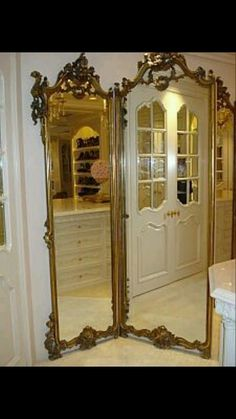 Antique French Tri-Fold Mirror (acquired at auction) is just one small element in this luxe Master bath--more pics at this site I Love Mirrors, Old Mirrors, My Mirror, Vintage Mirrors, Beautiful Mirrors, Mirror Room Divider, Standing Mirror, Through The Looking Glass, Interior Decorating