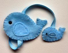 Blue Whale Felt Bookmark. $5.00, via Etsy.