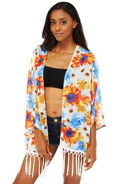 ScottyDirect - Flower Print Kimono With Tassels, $34.95 (http://www.scottydirect.com/flower-print-kimono-with-tassels/)