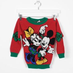 Vintage Kids Sweater Boys Girls Mickey Mouse Sweater 1990s Red Minnie Mouse  Jumper Disney Ugly Christmas