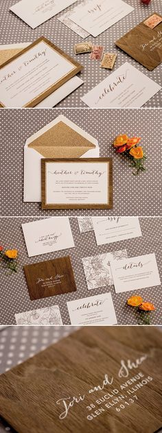 Rustic meets glam in the Heather collection from @engagingpapers . This wedding invitation suite features a three layer invitation; based in a layer of real walnut wood, a middle layer of glitter paper, topped with matte white cardstock. All pieces in the suite are Luxepress printed in chocolate brown ink to match the walnut wood. The finishing touch is the glitter envelope liner that adds even more sparkle to the collection.