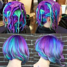 Purple blue colored hair