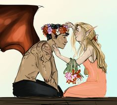Elain and Azriel by JessDoodlesThings. Sarah J Maas
