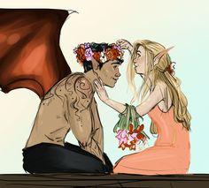 Elain and Azriel by JessDoodlesThings. Sarah J Maas