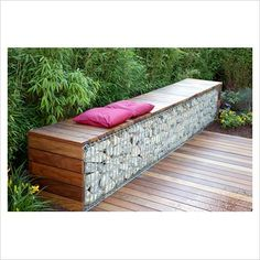 GAP Photos - Garden Plant Picture Library - Bench made from wood and gabions backed by Fargesia murielae - Bamboo hedge - GAP Photos - Specialising in horticultural photography Garden Seating, Outdoor Seating, Outdoor Decor, Fence Landscaping, Backyard Fences, Farm Fence, Pool Fence, Fence Gate, Back Gardens