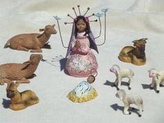 Mary & Baby Jesus w/ the animals, vintage Mexican pottery creche figures