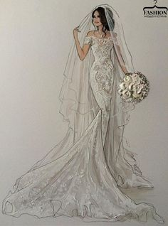 Wedding Dress Fashion Illustration