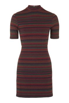NEW TOPSHOP High Neck Spot Stripe Bodycon Tunic Dress 6 to 16 RRP £34
