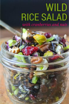 Healthy Wild Rice Salad with Cranberries and Nuts is perfect for a holiday table, or packing in your weekday lunch.