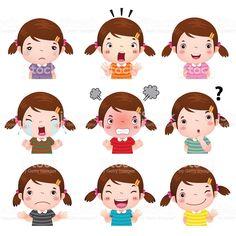 Illustration about Illustration of cute girl faces showing different emotions. Illustration of greeting, kindergarten, laugh - 60785380 Image Emotion, Emotion Faces, Emotions Cards, Feelings And Emotions, Boy Face, Cute Girl Face, Emoticons, Kids Vector, Vector Art