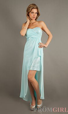 High Low Strapless Sweetheart Dress at PromGirl.com