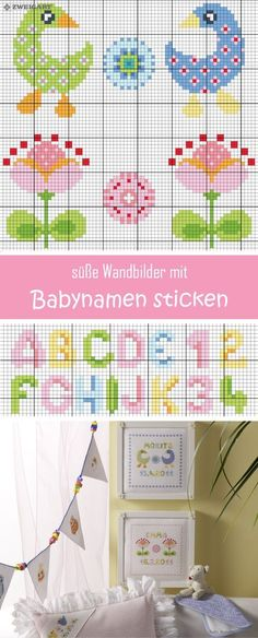 Embroidering cute murals with baby motifs - Discover numerous free embroidery charts! Cross Stitch Bird, Cross Stitch Embroidery, Embroidery Patterns, Cross Stitch Patterns, Baby Motiv, Easter Cross, Charts And Graphs, Le Point, Baby Patterns