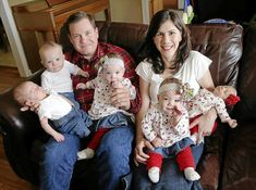 The Justice family of Tulsa, Oklahoma. The Justices had already made arrangements to adopt triplets when Mrs. Justice became pregnant with twins. The triplets were born in May, 2013, and the twins in December, 2013! Five babies in eight months . . . . This will be like raising quintuplets, for all practical purposes. Left-to-right are Andrew, Joel, dad Andy, Elizabeth, mom Sarah, Hannah and Abigail.