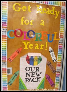 "I love colorful displays, so this crayon classroom door display ""Get Ready for a COLORFUL YEAR!  OUR NEW PACK"" is an idea I'd love to use.   This idea would also look great as a Back to School bulletin board display."
