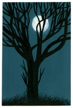 Small original gouache painting Moonlit by SmallWorldPainting, £45.00