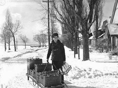 Milk Deliverer by Sled=vintage everyday: 10 Jobs That No Longer Exist Today