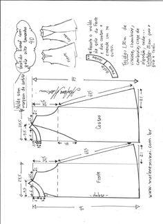 Esquema de modelagem de vestido evasê com gola alta tamanho 40.