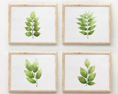 Simple Colorful Printable Art 30% off when you buy by EphericaArt Plant Wall Decor, Wall Decor Set, Botanical Decor, Botanical Prints, Printable Art, Printables, Green Plants, Green Leaves, Projects To Try