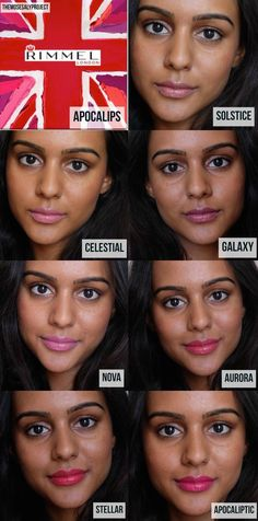 Drugstore lipgloss options for dark skin! Rimmel Apocalips/Provocalips Lip Lacquer on skin tones. (East Asian Indian and African skin). - April 27 2019 at Rimmel Lipstick, Lipgloss, Lipsticks, Natural Lip Balm, Natural Makeup, Natural Skin, Lipstick For Dark Skin, Lipstick Shades, Indian Skin Tone