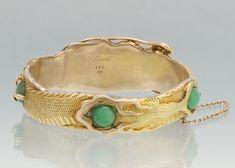 461. An Arthur & Bond 14k Gold and Jadeite, and Diamond Dragon Design Bangle Bracelet, ca. 1915 - February 2012 - ASPIRE AUCTIONS