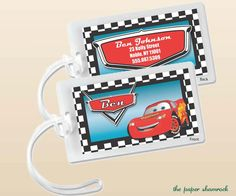 Lightning McQueen - Luggage Tag, Bag Tag, Backpack Tag, ID Tags, Personalized, Custom on Etsy, $5.00