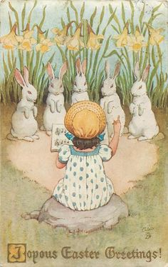 JOYOUS EASTER GREETINGS!  child conducts choir of five rabbits, daffodils behind