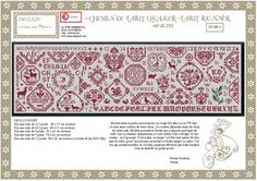 Table Runner with chart Swedish Embroidery, Embroidery Sampler, Cross Stitch Embroidery, Cross Stitch Alphabet, Cross Stitch Samplers, Cross Stitching, Cross Stitch Designs, Cross Stitch Patterns, Cross Love
