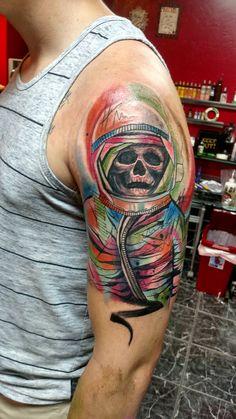 New trash polka-esq Astronaut to start my trippy space sleeve done at Sacred Art Tattoos. Half Sleeve Tattoos Clouds, Half Sleeve Tattoos Designs, Tattoo Designs, Sacred Art Tattoo, Illuminati Tattoo, Astronaut Tattoo, Lion Tattoo Design, Free Opening, Latest Tattoos
