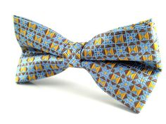 Golden Yellow Blue Brown Pattern - Bow Tie