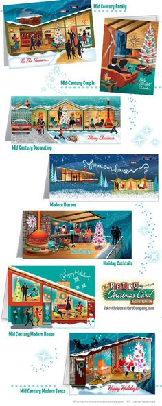 mid century modern houses Christmas Cards http://www.retrochristmascardcompany.com/2015/08/?cat=1