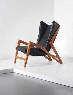 Wingback chair, 1950s Attributed to Studio BBPR - Gian Luigi Banfi, Ludovico Belgiojoso, Enrico Peressutti and Ernesto Nathan Rogers