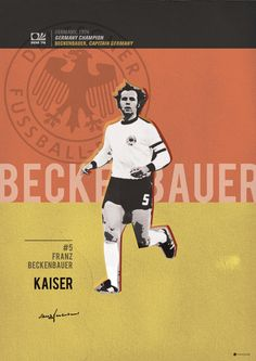 Beckenbauer // World Cup Football Stars Art Print Retro Football, Football Art, World Football, School Football, Vintage Football, Sports Stars, Kids Sports, Fifa, Premier League