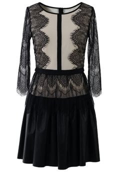 Eyelash Lace Dress with Faux Leather Skirt - New Arrivals - Retro, Indie and Unique Fashion