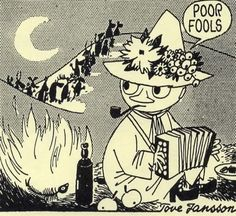 Snufkin, from a 1958 Moomin comic strip by Tove Jansson, recently collected in Drawn & Quarterly's Moomin and the Golden Tail.