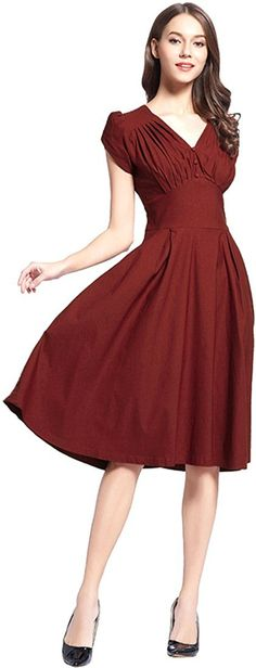 Generic Womens Fashion Short Sleeve V-neck Vintage A-line Dress * Want to know more, click on the image. (This is an affiliate link and I receive a commission for the sales)
